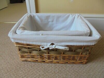 £9.99 • Buy Wicker Baskets Nesting Woven Set Of 2 With White Cotton Removeable Liners Lining