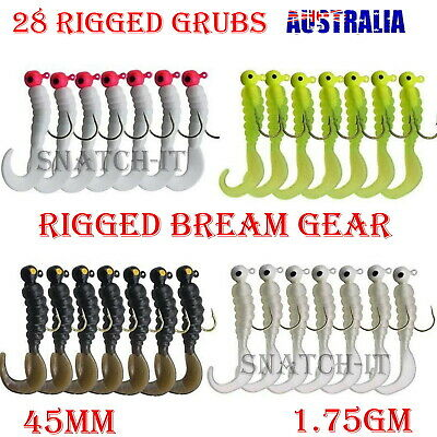 AU12.99 • Buy 28 Rigged Soft Plastic Fishing Lure Tackle  Curly TAIL Hooks Bream Bass Lures