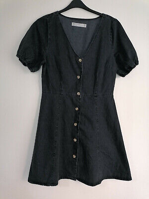 £14.99 • Buy NEW Asos Tall Button Down Washed Black Soft Denim Dress UK14