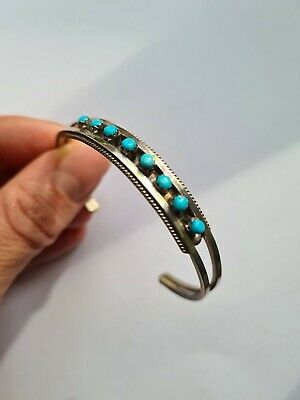 £45 • Buy Zuni Style Navajo Cuff Bracelet With Sterling Silver And Turquoise