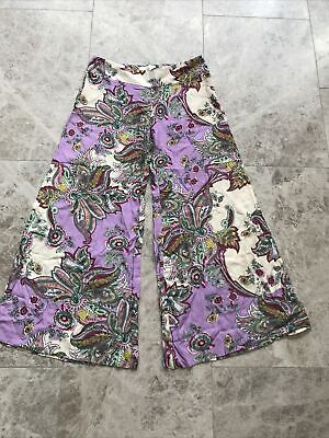 £7.99 • Buy UK 10 River Island Lightweight Palazzo Wide Leg Flare Trousers Floral