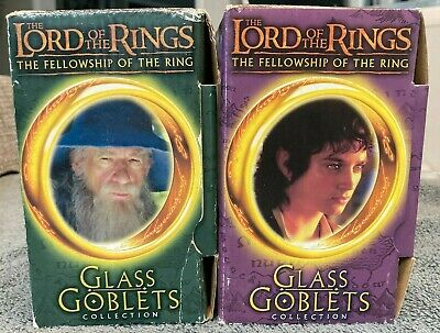 £9.45 • Buy 2 Lord Of The Rings LOTR Glass Goblets 2001 Gandalf Wizard & Frodo Hobbit Unused