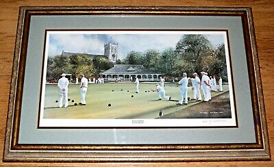 £49.99 • Buy SUNDAY BOWLS. By Terry Harrison, Signed In Pencil.  Framed And Glazed Print.