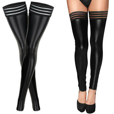 £7.99 • Buy Women Sexy Faux PU Leather Wet Look Footless Pantyhose Tights Stockings Clubwear