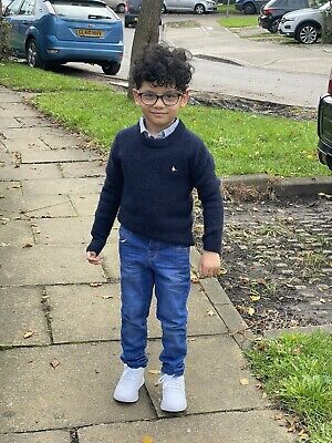 £5.99 • Buy NEW Baby Boys Kids Ex M&S Dark Blue Distressed Adjustable Jeans Trousers