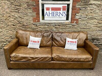 £850 • Buy Tan Brown Leather William Viscount Sofa Made By Halo FREE DELIVERY 🚚