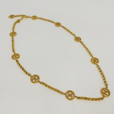 £1089.20 • Buy Auth Chanel Vintage Gold Long Necklace Coco Mark Charm 2cm Length 86cm F/s