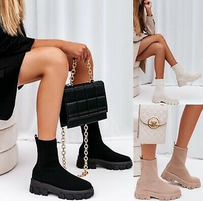 £20.99 • Buy Ladies Sole Flat Platform Womens Chelsea Slip On Sock Ankle Boots Chunky Shoes