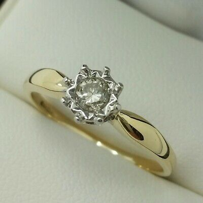 AU229.88 • Buy 9ct Yellow Gold Diamond Solitaire Engagement Ring, Finger Size P