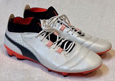 AU234.69 • Buy PUMA One 17.1 White Black Coral Leather Evoknit FG Soccer Cleats NEW Mens 10