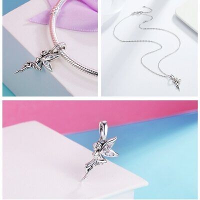 £10.99 • Buy Silver Cz Wings Tinkerbell Fairy Peter Pan Charm Bead Birthday Romantic Gift