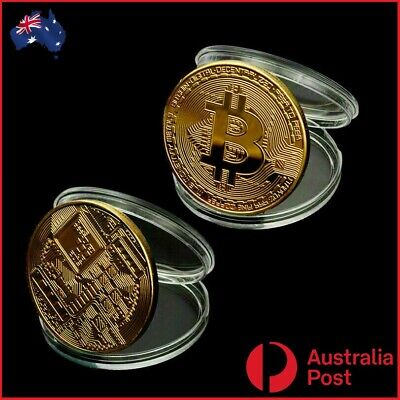 AU7.90 • Buy 2 X Bitcoin Coin BTC Gold Plated Physical Metal Case Cryptocurrency Collectable.