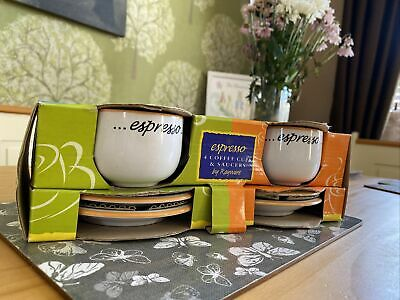 £14.99 • Buy Set Of 4 Espresso Coffee Cups And Saucers New Free Post