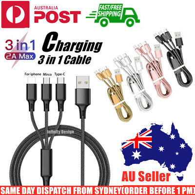 AU5.65 • Buy Universal 3 In 1 Charging Cable USB Multi Function Phone Charger Cord Type-C IOS