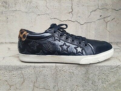£69 • Buy Ash Majestic Star Motif Black Leather Low Top Trainers Sneakers Size UK 5 EU 38
