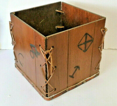 £32.80 • Buy E** Unusual  Arts & Crafts Wooden Box With Leather Straps And Markings