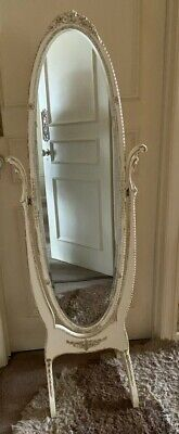 £75 • Buy   Vintage Tall Cheval Regency Style Free Standing Oval Mirror White/gold