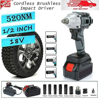 £47.69 • Buy Cordless Impact Wrench 1/2  Driver Ratchet Rattle Nut Gun With Battery Brushless