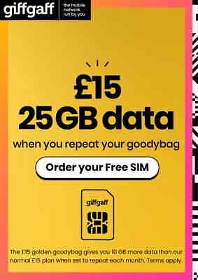 £0.99 • Buy GiffGaff Simcard Pay As You Go PAYG Sim Card (for 2G/3G/4G) With £5 Free Credit