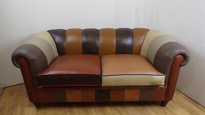 £1200 • Buy Chesterfield Patchwork Style Leather Sofa