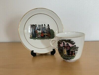 """£7 • Buy Antique Cup & Saucer """"Welsh Costume. North Wales"""" Hand Painted Scenes. Souvenir"""