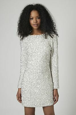 £59.99 • Buy BNWT Topshop Premium White Sequin Crystal Embellished  Party Dress - Size 6