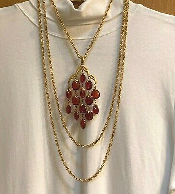 £37 • Buy Vintage Crown Trifari Signed Amber Pendant Waterfall Necklace Double Chain