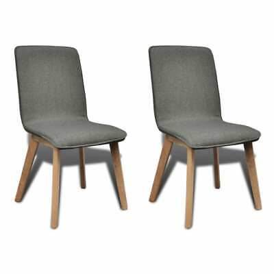 AU246.95 • Buy Dining Chairs 2 Pcs Light Grey Fabric And Solid Oak Wood