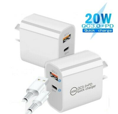 AU13.95 • Buy 20W DUAL USB-C Type C Fast Wall Charger Adaptor QC3.0 For IPhone 12 11 Samsung