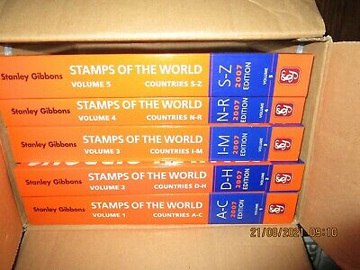 £150 • Buy Set Of Stanley Gibbons Simplified Catalogues Stamps Of The World 2007 Vols 1-5