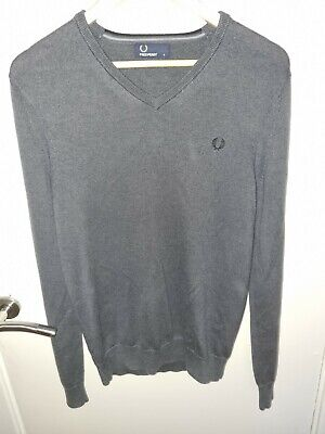 £21 • Buy Fred Perry V Neck Jumper Merino / Cotton Grey Small Mod Ska Mint! FREE POSTAGE