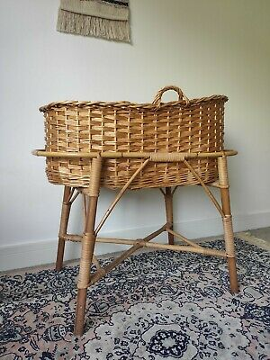 £30 • Buy Beautiful Wicker Moses Basket And Crib Stand - Solid & Vintage