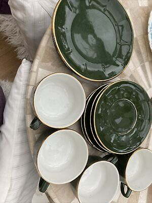 £5 • Buy 4 Coffee Cups And Saucers Green Gold +2 Plates Used