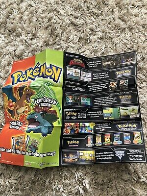 $65 • Buy Pokemon Fire Red Leaf Green Authentic Poster Insert Reversible
