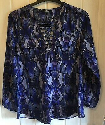 £1.79 • Buy Ladies Top Size 14 Purple Snakeskin Lace Up Front By Star Julien Macdonald