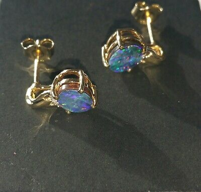 £30 • Buy Opal On Ironstone And Diamond Earrings, 9ct Gold.