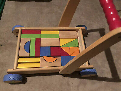 £12 • Buy ELC Push Along Wooden Trolley With Building Blocks