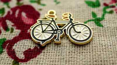 £2.99 • Buy Bicycle Bike Charm Black White & Gold Vintage Style Pendant Jewellery Supplies