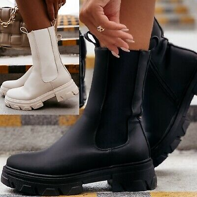 £24.99 • Buy Womens Ladies Flat Retro Chunky Platform Sole Shoes Ankle Fashion Chelsea Boots