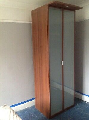 £100 • Buy Ikea Hopen Brown Frosted Glass Wardrobe Tall Very Good Condition