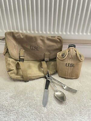 £150 • Buy Vintage WW2 US Musette Bag 101st Airborne With Cutlery And Canteen