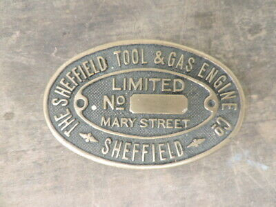 £8.90 • Buy Vintage? Sheffield Tool And Gas Engine Co Brass Sign/Safe Plate?