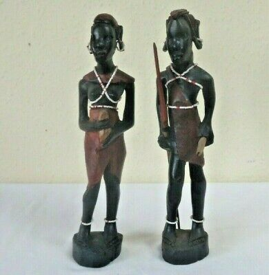£5 • Buy 2 Carved Wooden Male & Female Masssai  African Figures 30h X 6 Cm W & 29 H