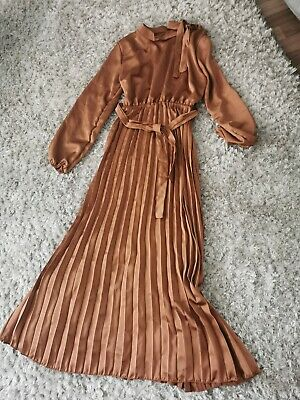 £8 • Buy Satin Flared Gown Dress Tie High Neck Size One Size Camel Brown