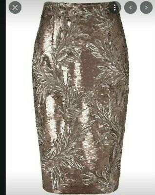 £20 • Buy Skirt Size 10 Midi Phase Eight Worn Once Christmas Party Sequin Bronze Rrp £120