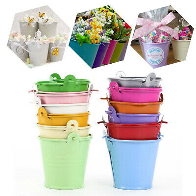£10.99 • Buy 12 Mini Metal Bucket Tin Candy Box Souvenirs Gift Pails For Wedding Baby Shower
