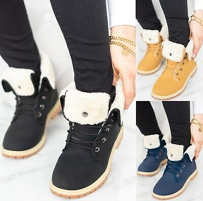 £14.95 • Buy Ladies Army Combat Ankle Flat Fur Lined Grip Womens Sole Winter Boots Shoes Size