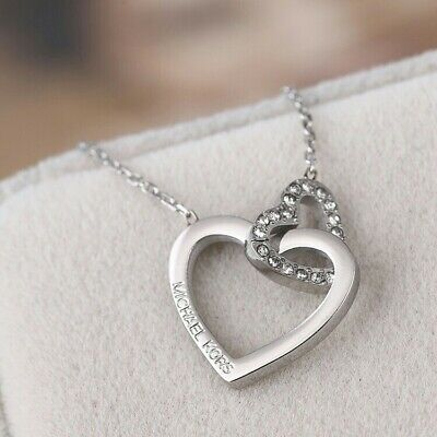 £38 • Buy Michael Kors Silver Tone Heart Shape Crystal Necklace With Original Pouch