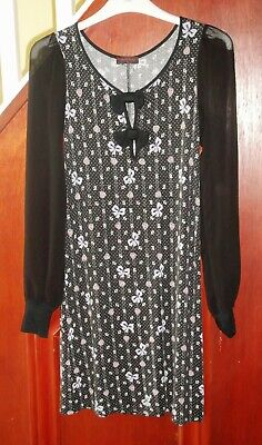 £12 • Buy Miss Selfridge Black Dress, Lilac Bow And Pink Heart Pattern Size 8