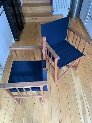 £25 • Buy Retro Vintage Wooden & Blue Canvas Directors Chairs Set Of 2. In Good Condition